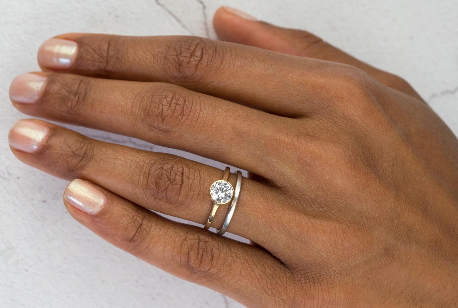 Allium Round Engagement Ring with Milla Thin Wedding B and