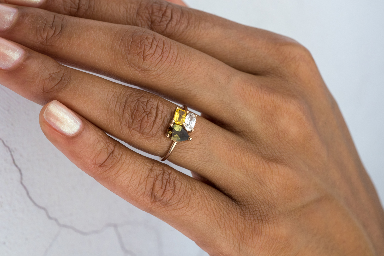 Cluster Andalusite Engagement Ring