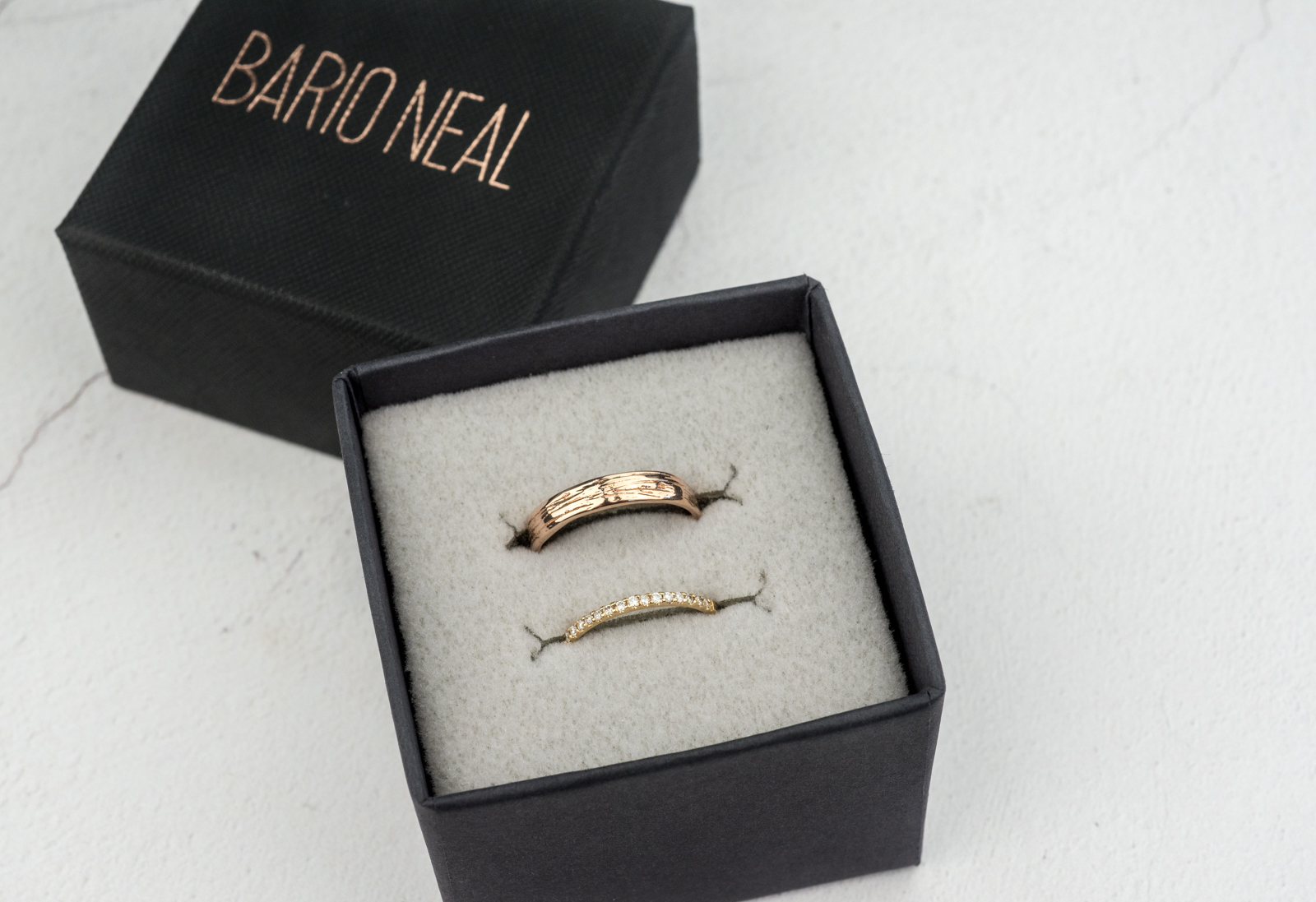 Quill Wedding B and  and Half Eternity Diamond Wedding B and in Bario Neal Box