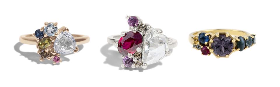 Three custom rings by Bario Neal featuring rubies.