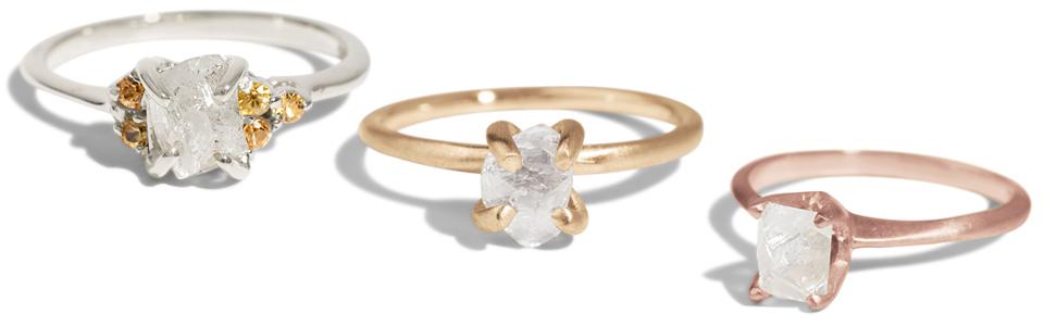 L to R: Avens Asymmetrical Raw Diamond Ring, Kalmia Raw Diamond Ring, Avens Raw Diamond Ring