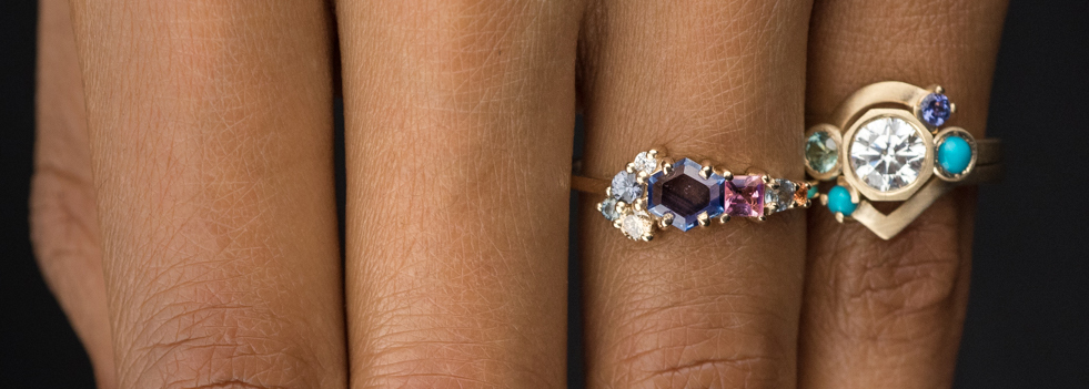 On figure close up of Bario Neal's custom designed rings