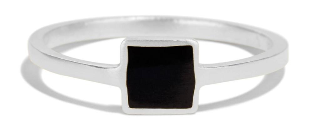 Senna Square Ring with Black Enamel