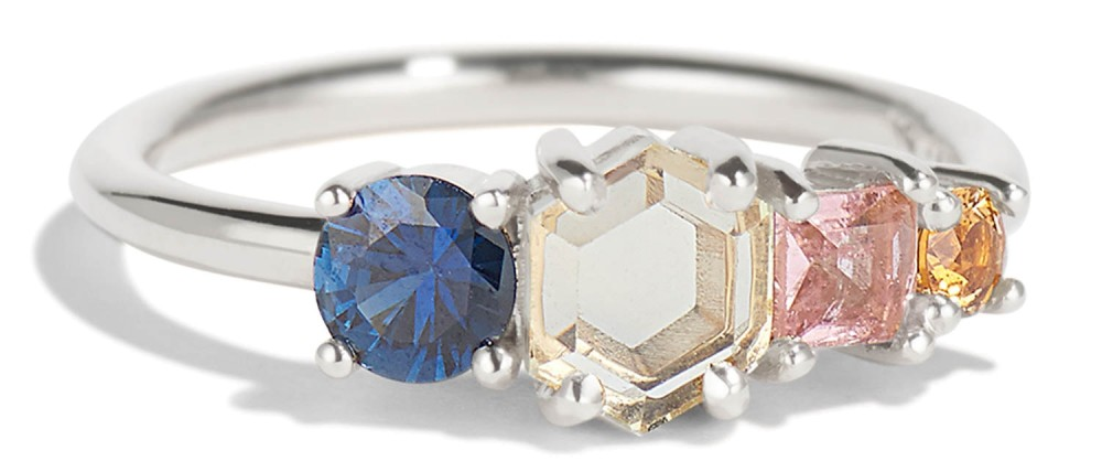 Linear Hex Sapphire Ring