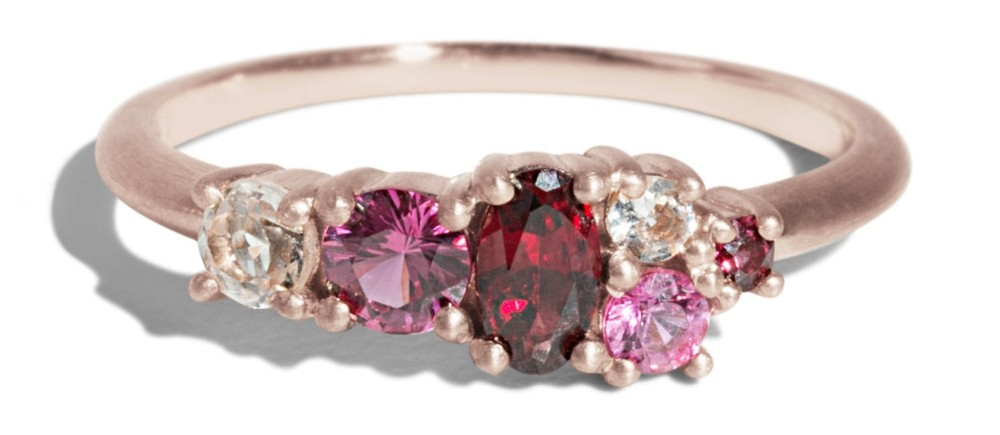 Custom Linear Cluster Garnet, Ruby and Morganite Ring