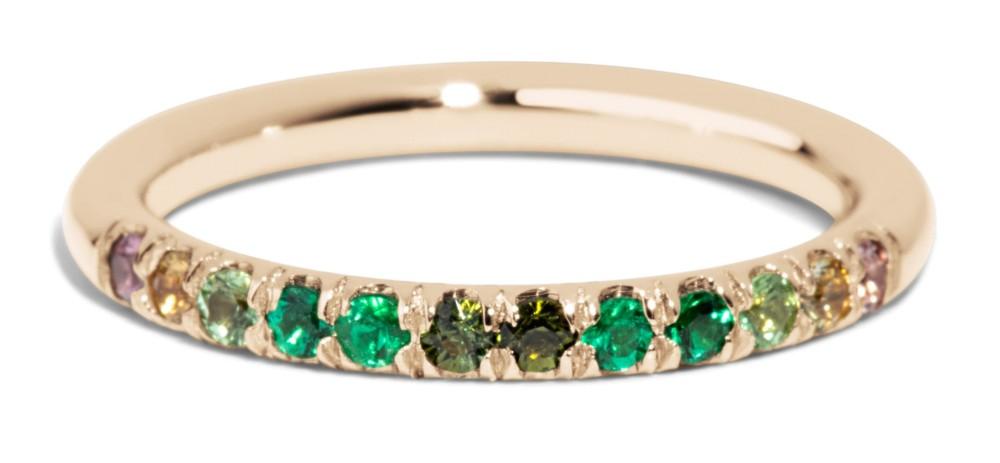 Dasha Half Eternity Round Emerald Ombré Band