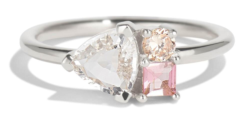Prim Cluster Trillion White Sapphire Ring
