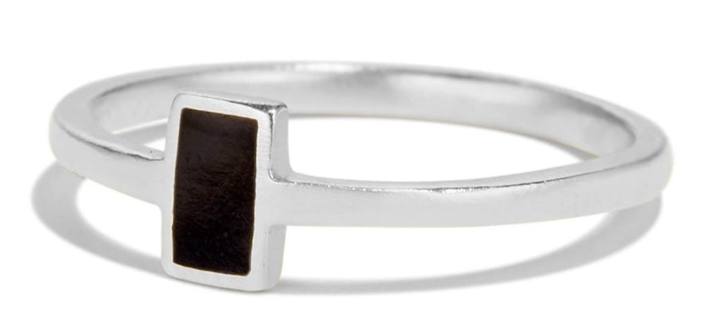Senna Rectangle Ring with Black Enamel