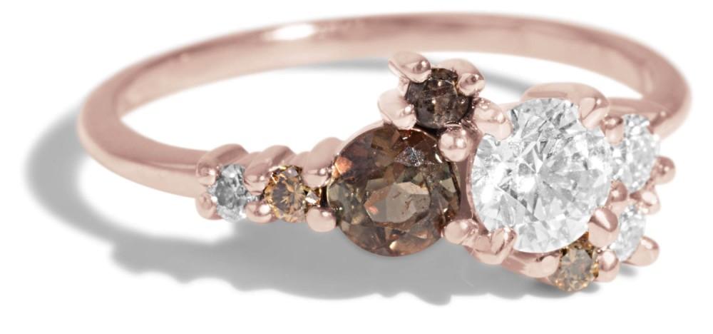 Custom .40ct Diamond and 4mm Andalusite Burst Cluster Ring with Smokey Quartz