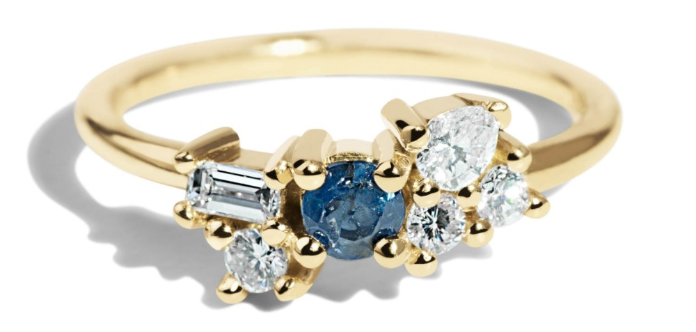 Custom Heirloom Sapphire and Diamond Cluster Ring