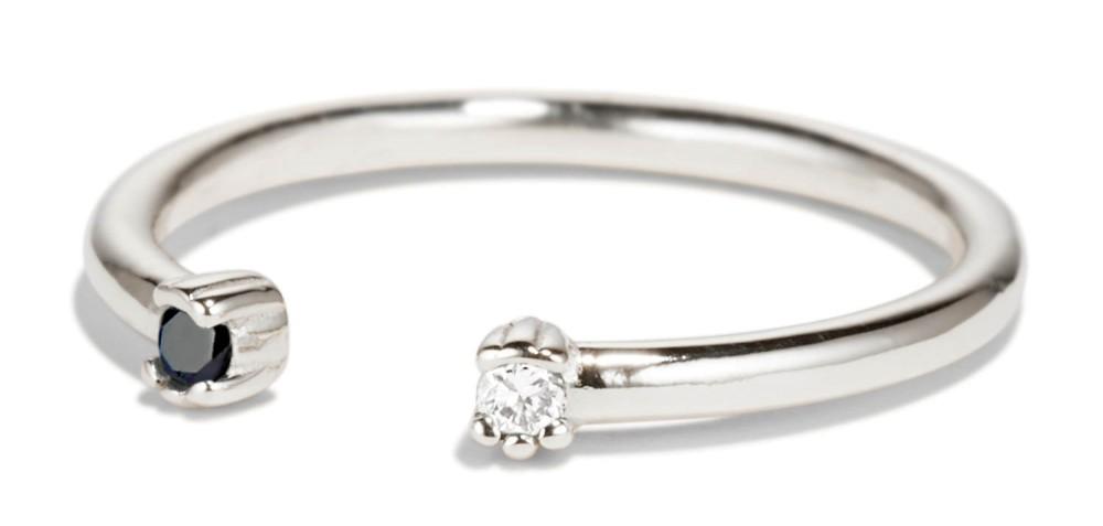Open Lash Mini Black and White Diamond Ring