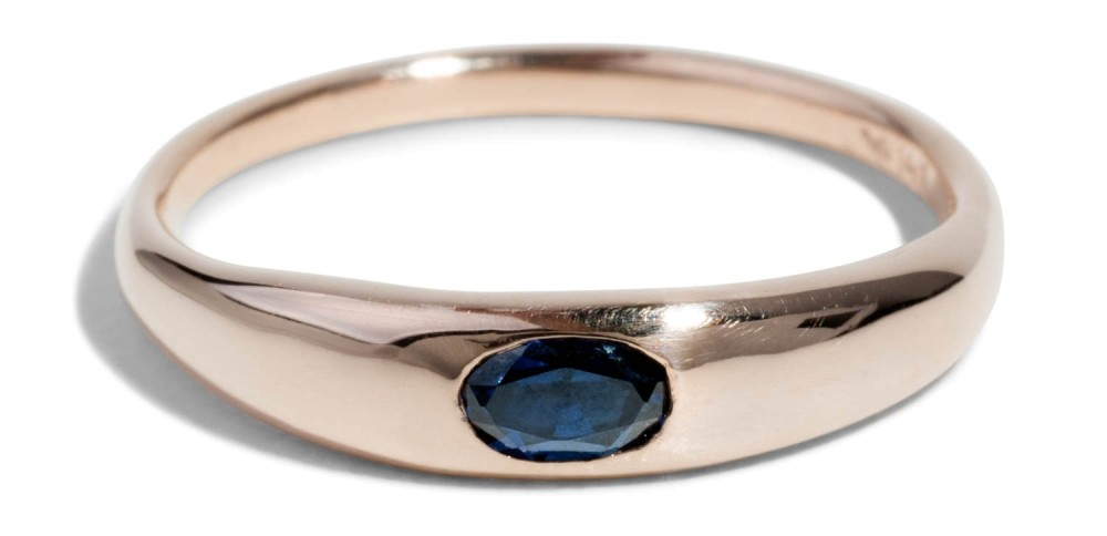 Custom Crescent Sapphire Ring
