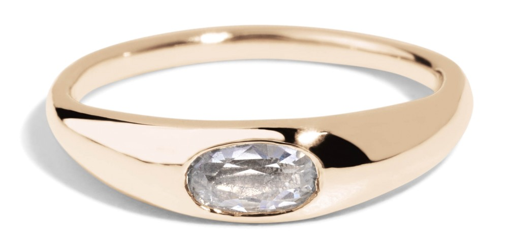 Crescent White Sapphire Oval Ring