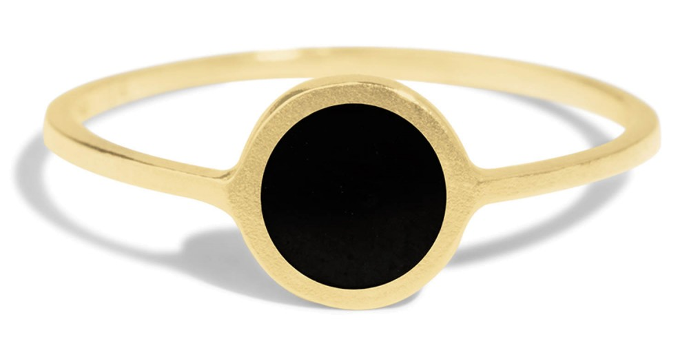 Senna Round Ring with Black Enamel