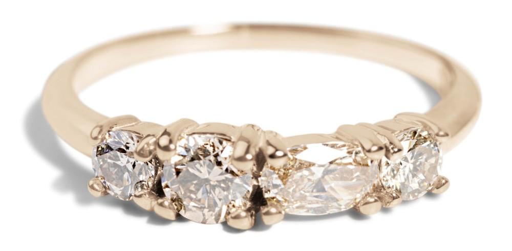 Custom Linear .25ct Champagne Diamond Ring