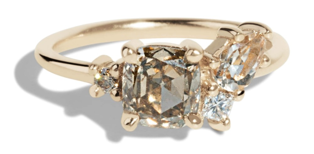 Custom Eaves Cluster Champagne Diamond and Morganite Ring