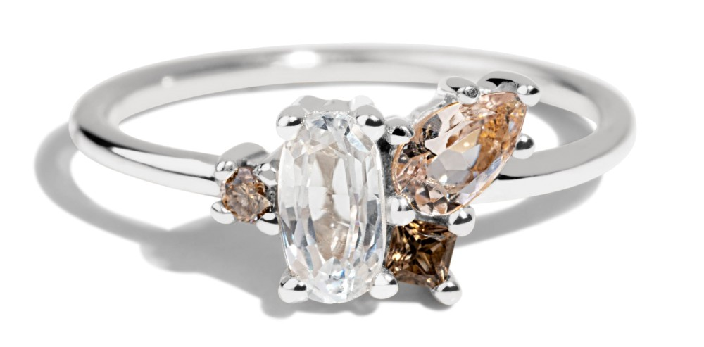 Eaves Cluster White Sapphire Oval with Morganite Ring