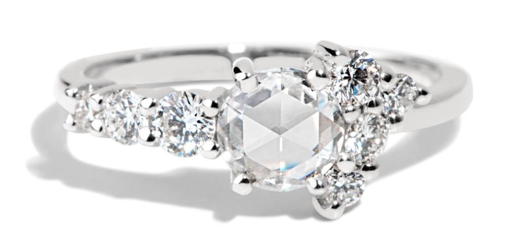 Radial Cluster Rose Cut Diamond Ring