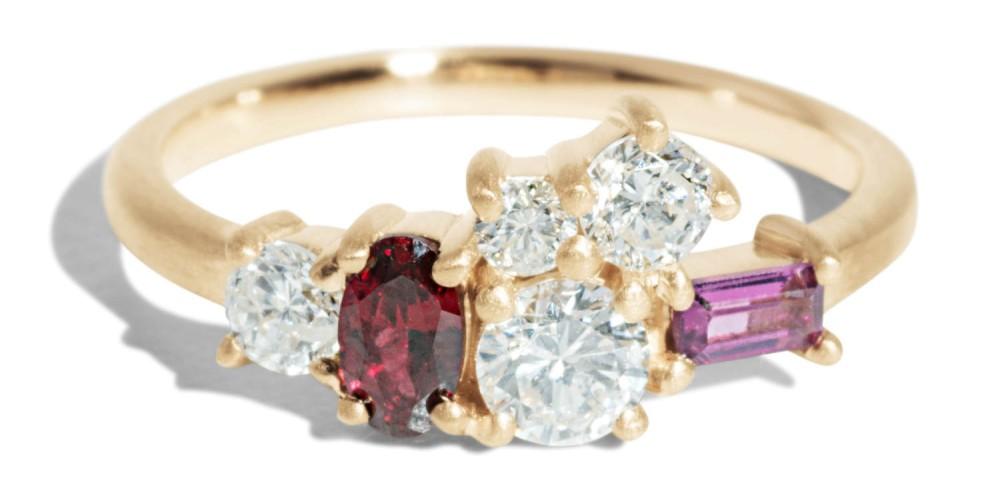 Custom Heirloom Diamond and Garnet Cluster Ring
