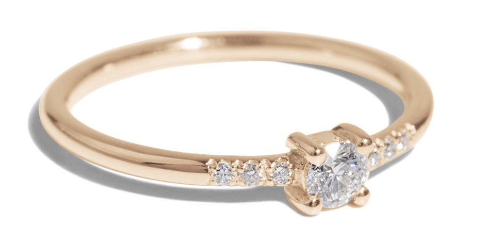 Petite Four Prong Ring with Pavé