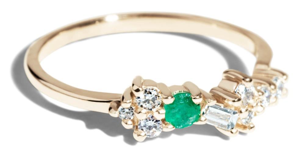Custom Heirloom Emerald and Diamond Cluster Ring