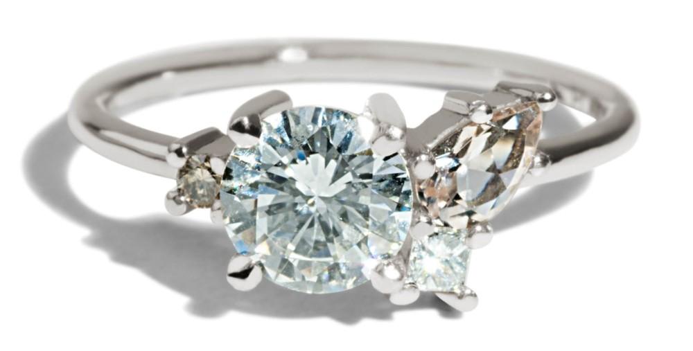 Custom Eaves Cluster Heirloom 1ct Round Diamond and Morganite Ring
