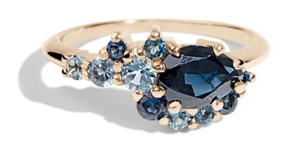 Custom 7mm Pear Cut Blue Sapphire Cluster Ring with Sapphires