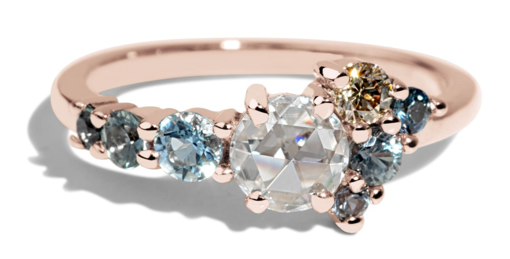 Radial Cluster Rose Cut Diamond with Blue Sapphire Ring