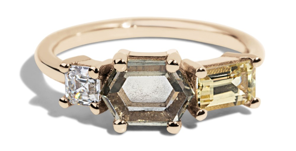 Custom Hex Green Sapphire Linear Ring with Asscher Cut Diamond and Yellow Sapphire