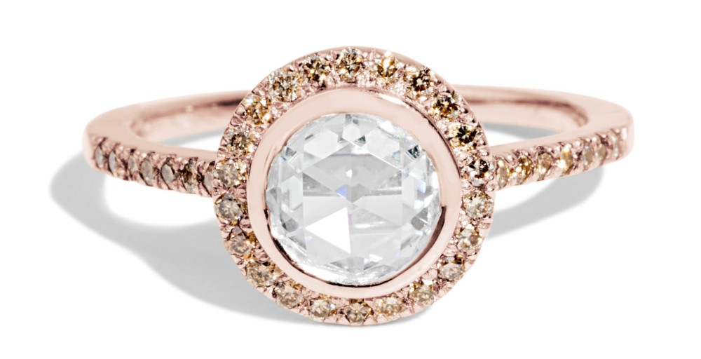 Soma Rose Cut Diamond with Champagne Halo Ring