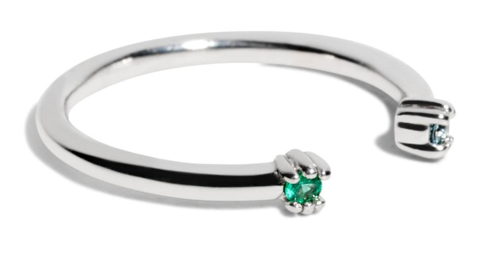 Custom Open Lash Emerald and Aquamarine Ring