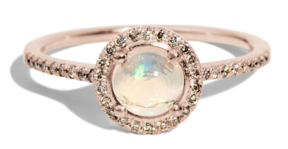 Soma Opal Cabochon with Champagne Diamond Halo Ring
