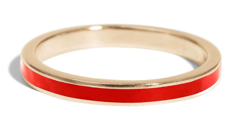 Senna Narrow Band with Tomato Red Enamel
