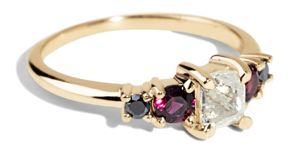 Custom Rough Diamond, Garnet, and Black Diamond Ring