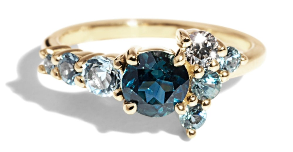 Custom Radial Cluster Round Myrtle Sapphire, Diamond and Aquamarine Ring
