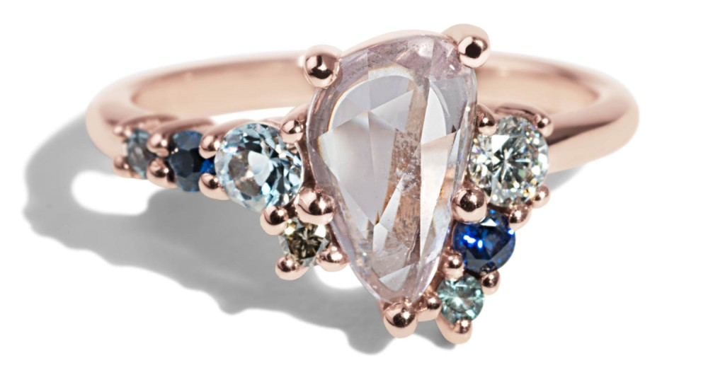 Custom Free Form Rose Cut Pink Sapphire Cluster Ring