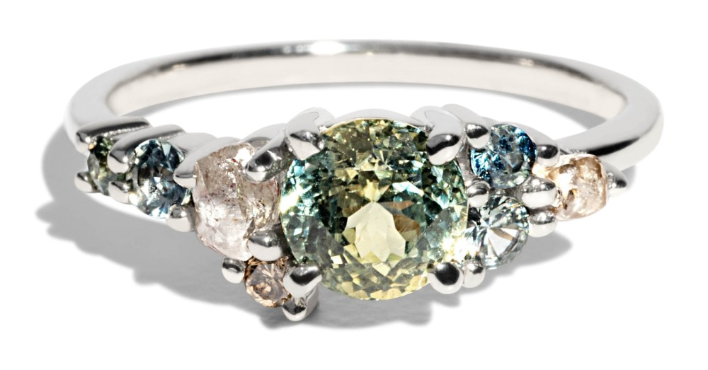 Custom 5.67mm Bi-Color Sapphire Cluster Ring with Rough Diamonds, Seafoam Sapphires, and Champagne Diamonds