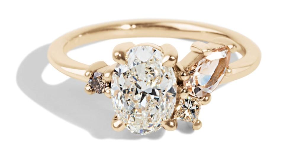 Custom 1ct Oval Diamond and Morganite Cluster Ring