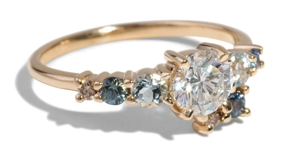 Custom .80ct Heirloom Diamond Sapphire Cluster Ring with Aquamarine and Champagne Diamond