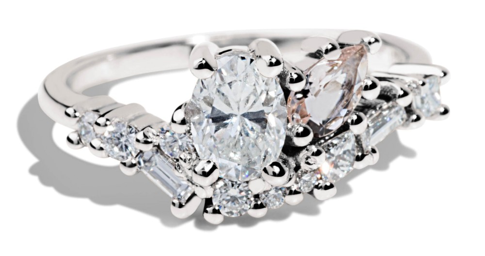 Custom .5ct Oval Diamond and Morganite Cluster Ring with Diamonds