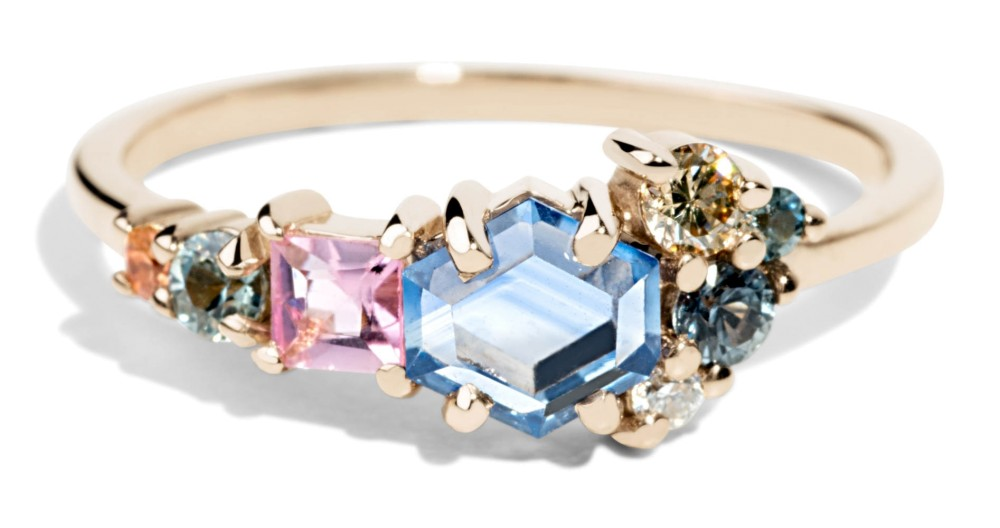 Custom Blue Hex and Pink Tourmaline Sapphire Cluster Ring