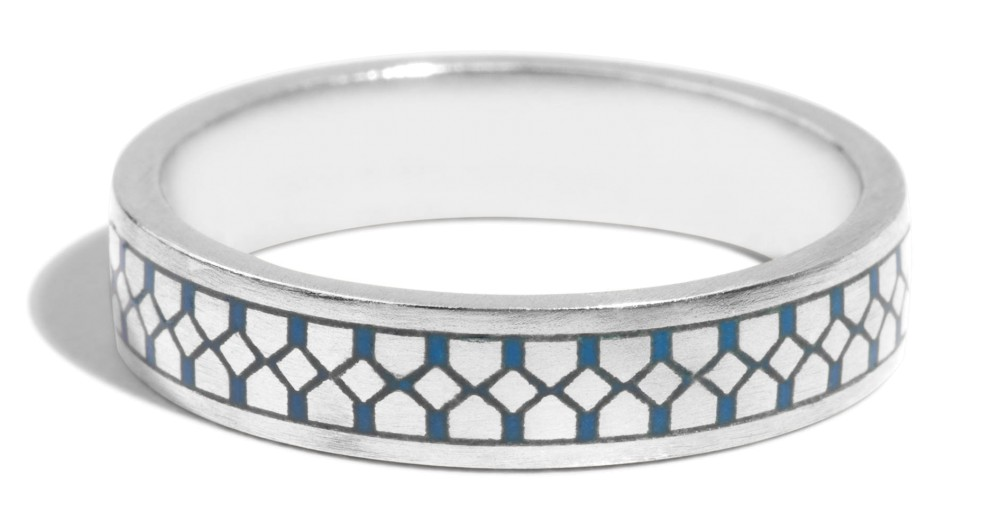 Shield Band with Blue Enamel