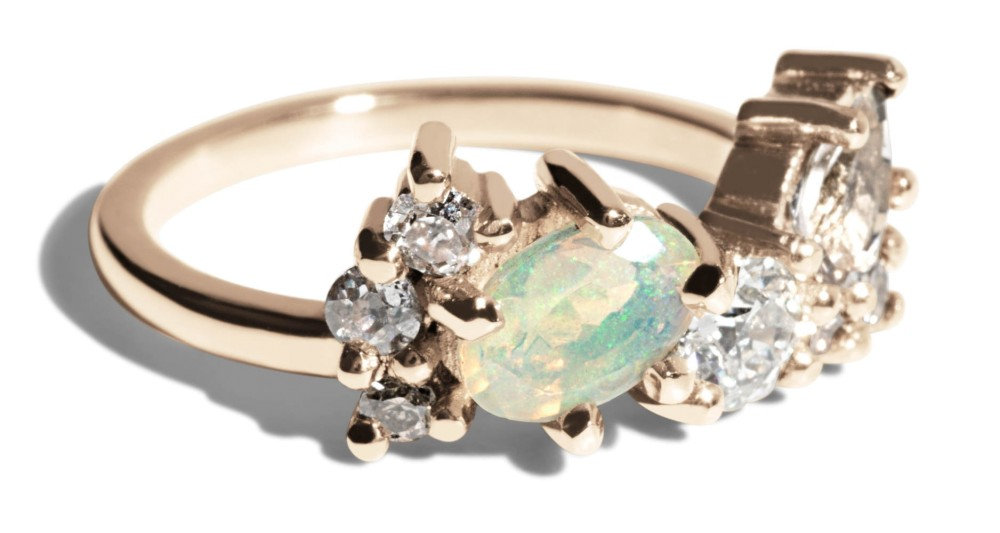 Custom 6mm Oval Opal and Pear Morganite Cluster Ring with Heirloom Champagne and White Diamonds