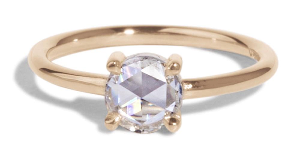Custom Solitaire Rose Cut Diamond Ring