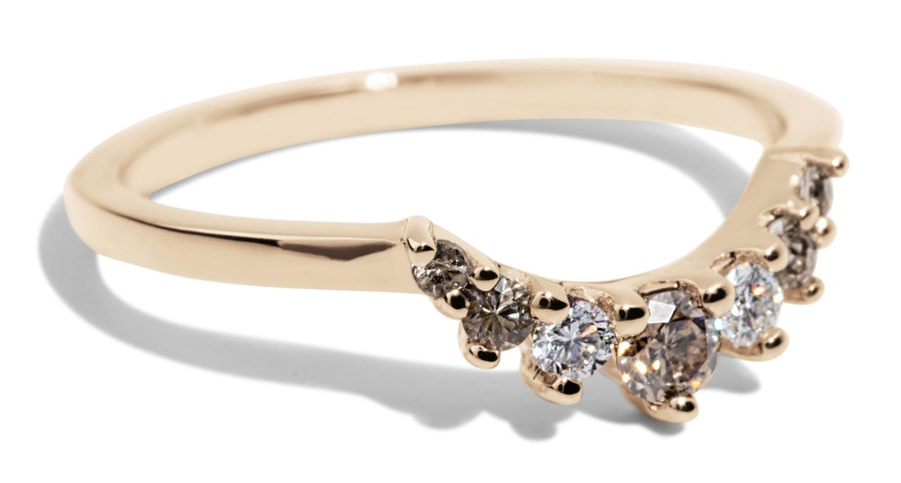 Arco Curved Champagne Diamond Ombré Band