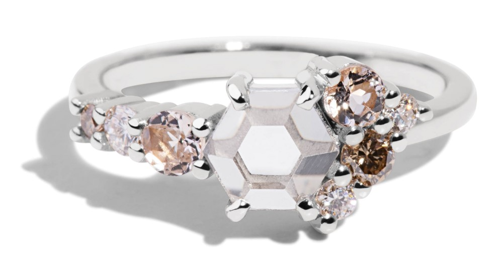 Radial Cluster Hex White Sapphire Ring