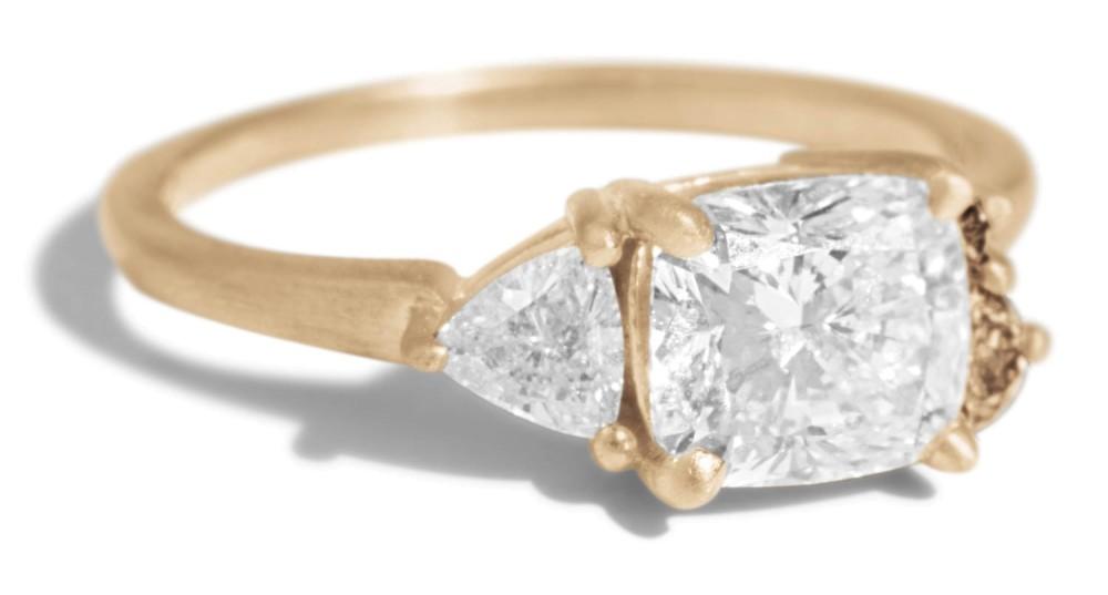 Custom Avens Asymmetrical 1ct Cushion with Trillion Diamond Ring