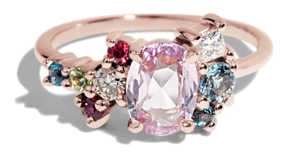 Custom Rose Cut Pink Sapphire Cluster Ring with Aquamarine, Topaz, and Diamonds