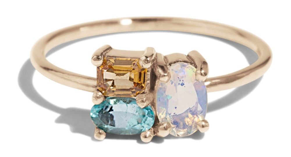 Custom Charta Cluster Opal, Paraiba and Apricot Sapphire Ring
