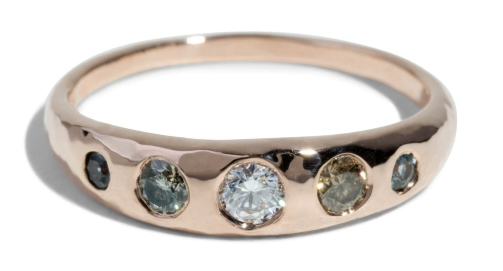 Custom Crescent .1ct Diamond and Seafoam Ring